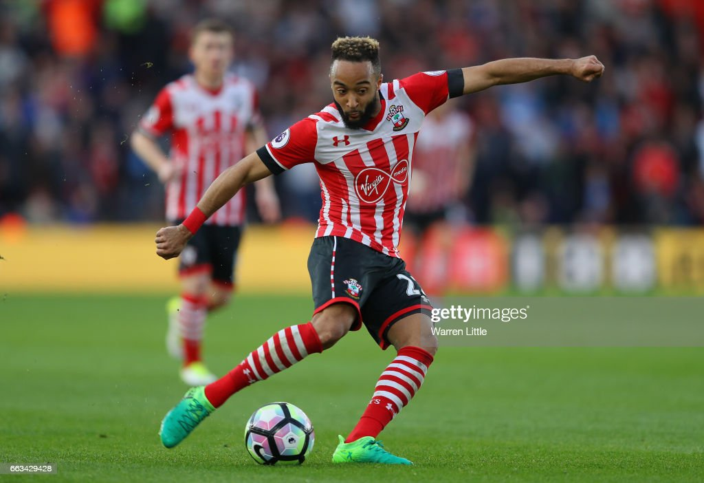 Nathan Redmond of Southampton in action during the Premier League match between Southampton and AFC Bournemouth at St Mary's Stadium on April 1, 2017 in Southampton, England.