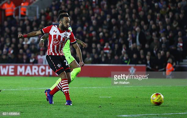 Nathan Redmond of Southampton scores their first goal during the EFL Cup semifinal first leg match between Southampton and Liverpool at St Mary's...