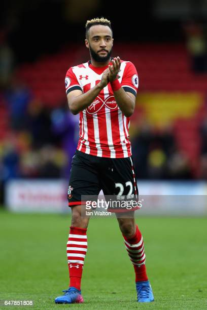 Nathan Redmond of Southampton shows appreciation to the fans after the Premier League match between Watford and Southampton at Vicarage Road on March...