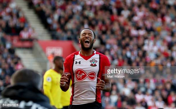 Nathan Redmond of Southampton shows his frustration during the Premier League match between Southampton and Watford at St Mary's Stadium on September...