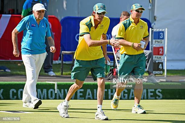 Nathan Rice of Australia reacts during the mens tripiles at Kelvingrove Lawn Bowls Centre during day one of the Glasgow 2014 Commonwealth Games on...