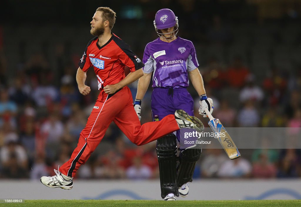 Nathan Rimmington of the Renegades celebrates after dismissing <a gi-track='captionPersonalityLinkClicked' href=/galleries/search?phrase=Tim+Paine&family=editorial&specificpeople=3990549 ng-click='$event.stopPropagation()'>Tim Paine</a> of the Hurricanes during the Big Bash League match between the Melbourne Renegades and the Hobart Hurricanes at Etihad Stadium on December 19, 2012 in Melbourne, Australia.