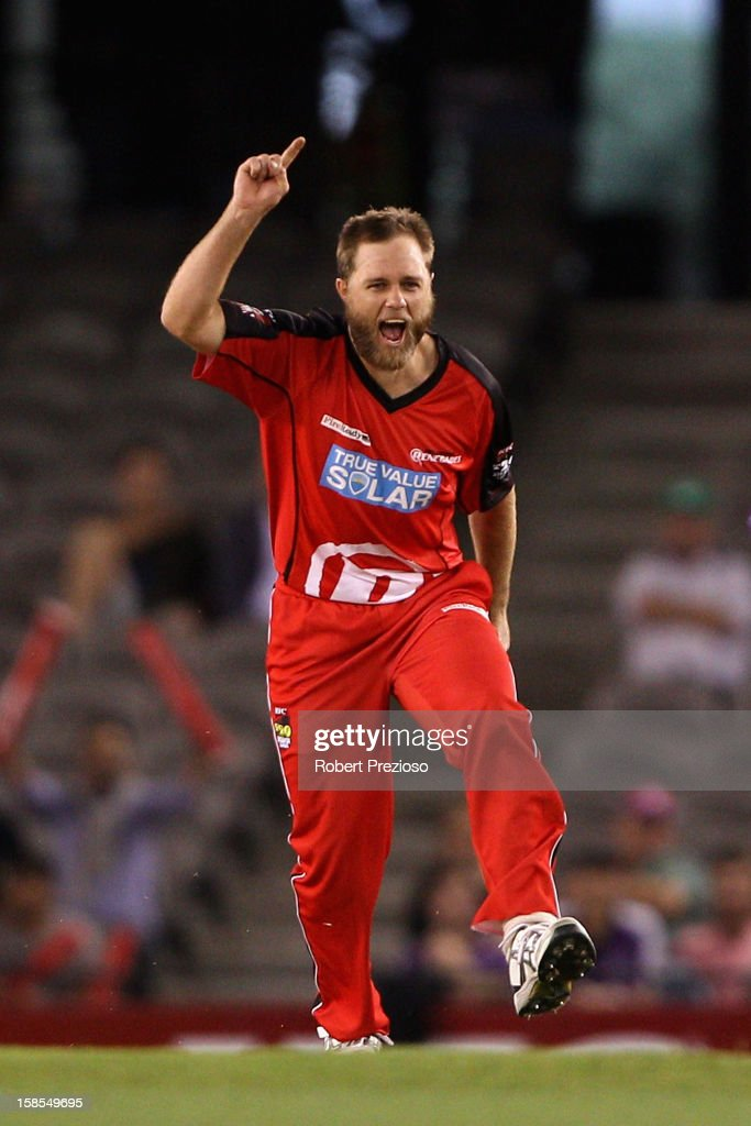 Nathan Rimmington of the Renegades celebrates the wicket of Tim Paine of the Hurricanes during the Big Bash League match between the Melbourne Renegades and the Hobart Hurricanes at Etihad Stadium on December 19, 2012 in Melbourne, Australia.