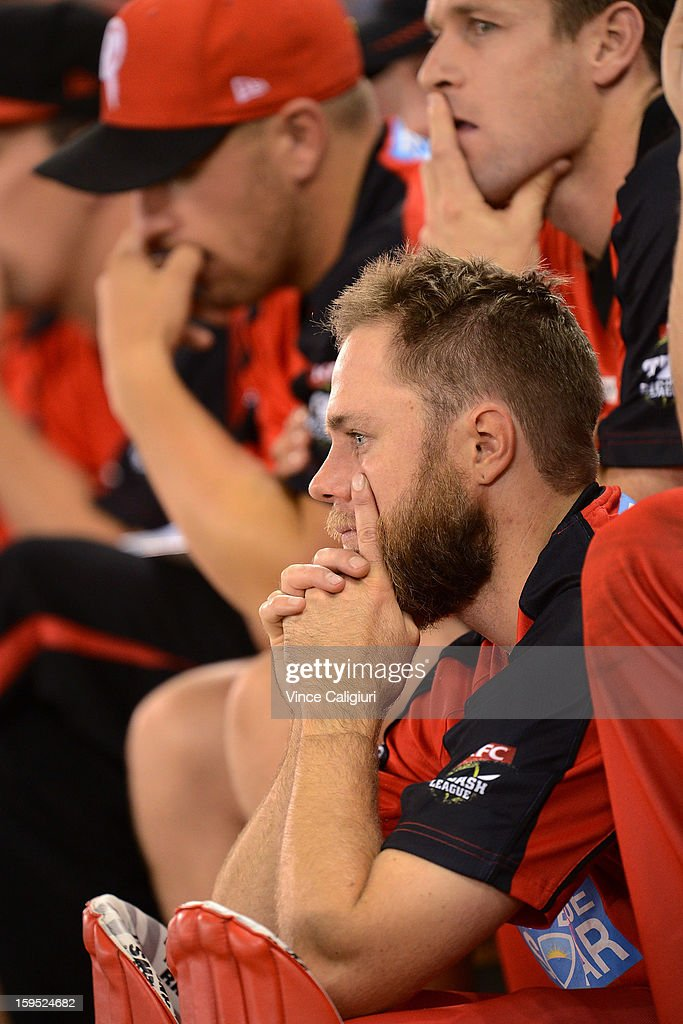 Nathan Rimmington of the Renegades sits dejected on the bench during the Big Bash League Semi-Final match between the Melbourne Renegades and the Brisbane Heat at Etihad Stadium on January 15, 2013 in Melbourne, Australia.