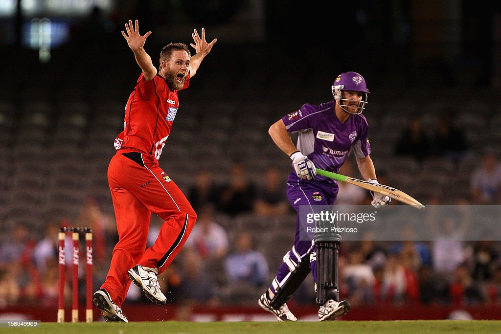 Nathan Rimmington of the Renegades successfully appeals for the wicket of Jason Krejza of the Hurricanes during the Big Bash League match between the Melbourne Renegades and the Hobart Hurricanes at Etihad Stadium on December 19, 2012 in Melbourne, Australia.