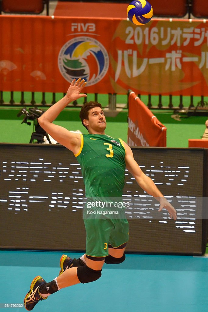 Nathan Roberts #3 of Australia spikes the ball during the Men's World Olympic Qualification game between Iran and Australia at Tokyo Metropolitan Gymnasium on May 28, 2016 in Tokyo, Japan.