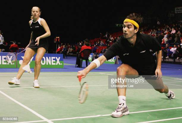 Nathan Robertson and Gail Emms of England in action as they beat Lee JaeJin and Lee HyoJung of Korea during the Yonex All England Open Badminton...
