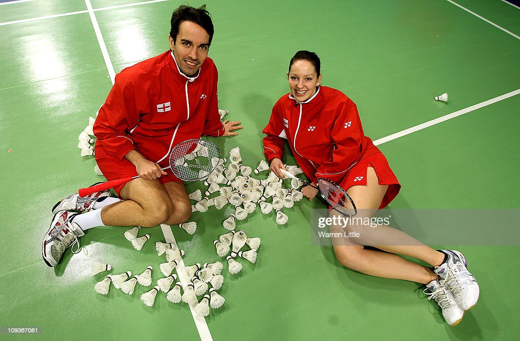Nathan Robertson and Jenny Wallwork of the England Badminton squad pose for a picture at the National Badminton Centre on February 23, 2011 in Milton Keynes, England.