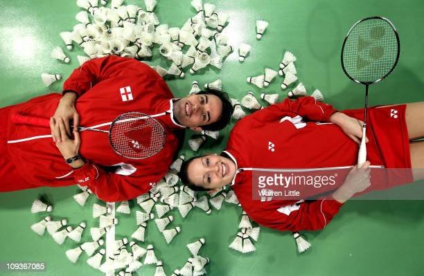 Nathan Robertson and Jenny Wallwork of the England Badminton squad pose for a picture at the National Badminton Centre on February 23 2011 in Milton...