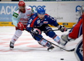Nathan Robinson of Cologne challenges Steven Wagner of Mannheim during the DEL match between Koelner Haie and Adler Mannheim at Lanxess Arena on...