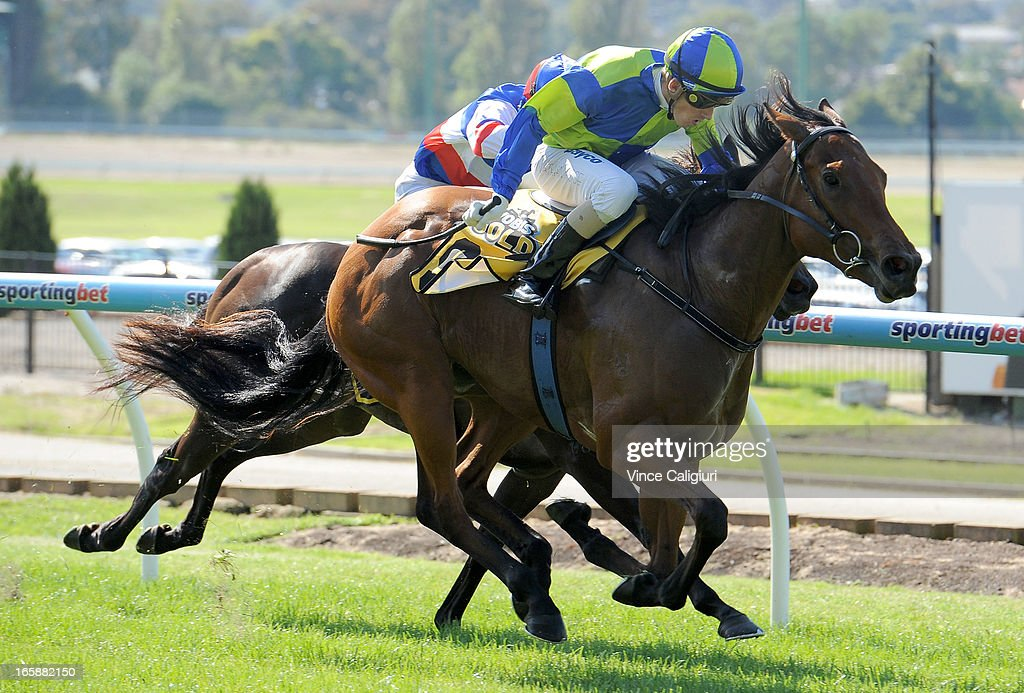 Nathan Rose riding Zellindi wins the DPOS Display Handicap during Melbourne racing at Moonee Valley Racecourse on April 6, 2013 in Melbourne, Australia.
