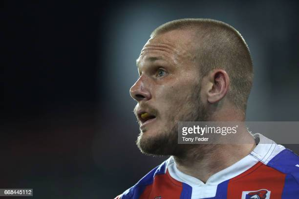 Nathan Ross of the Knights during the round seven NRL match between the Newcastle Knights and the Sydney Roosters at McDonald Jones Stadium on April...