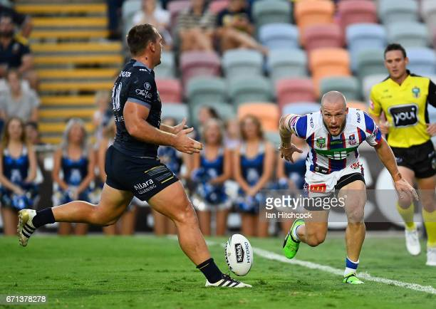 Nathan Ross of the Knights scores a try during the round eight NRL match between the North Queensland Cowboys and the Newcastle Knights at 1300SMILES...