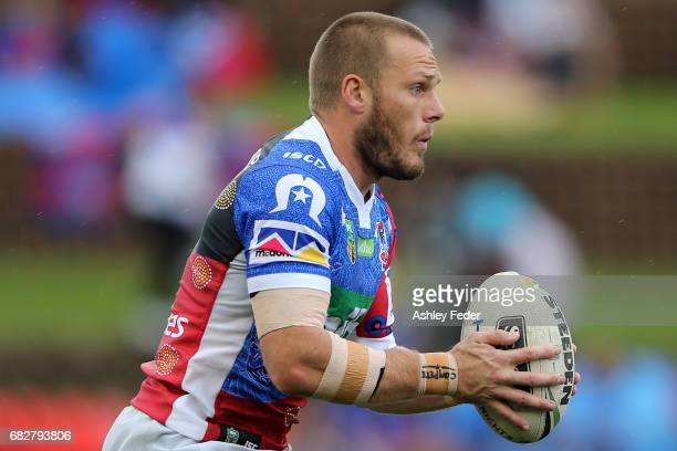 Nathan Ross of the Knights warms up during the round 10 NRL match between the Newcastle Knights and the Canberra Raiders at McDonald Jones Stadium on...