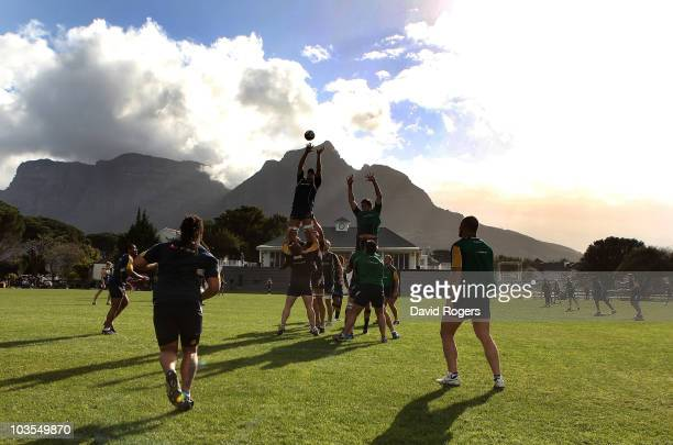 Nathan Sharpe catching the ball in the lineout during an Australian Wallabies training session Bishops High School on August 23 2010 in Cape Town...