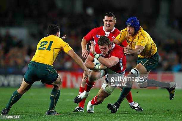 Nathan Sharpe of the Wallabies tackles Danny Lydiate of Wales during the 2011 IRB Rugby World Cup bronze final match between Wales and Australia at...