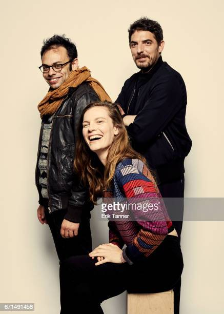 Nathan Silver Damien Bonnard and Lindsay Burdge from 'Thirst Street' pose at the 2017 Tribeca Film Festival portrait studio on April 21 2017 in New...