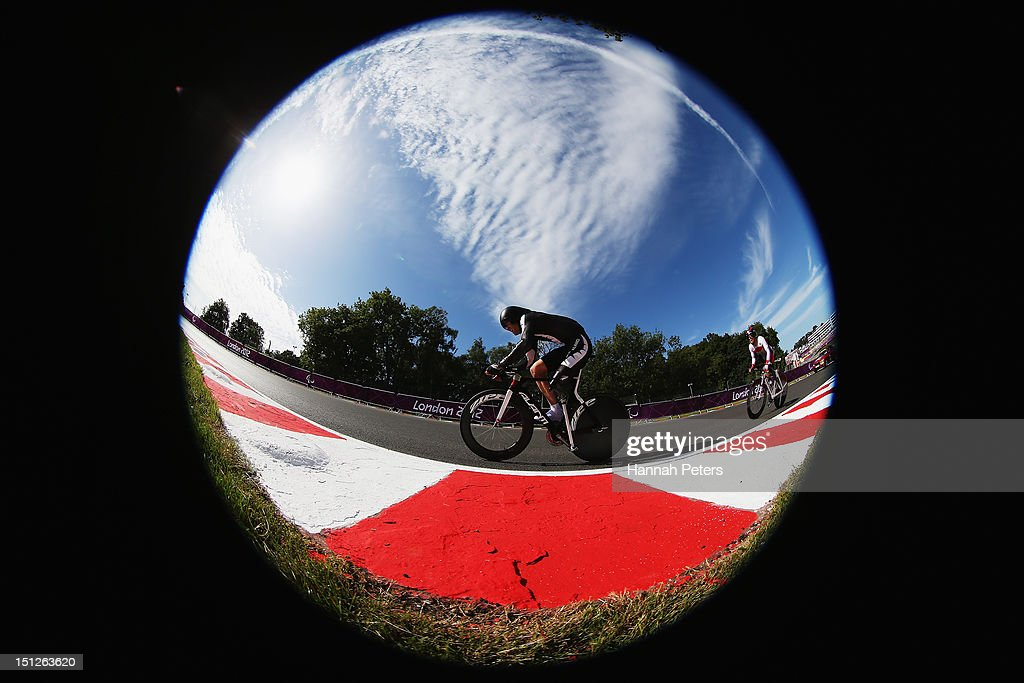 Nathan Smith of New Zealand competes in the Men's Individual C 3 Time Trial on day 7 of the London 2012 Paralympic Games at Brands Hatch on September...