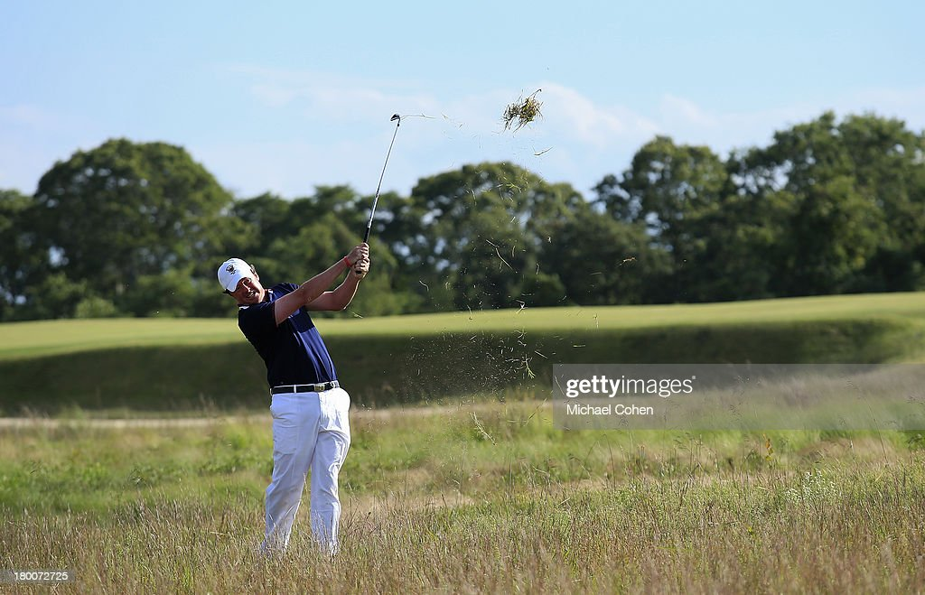 Nathan Smith of the United States team hits his second shot on the 15th hole from the rough during Day Two of the 2013 Walker Cup at National Golf Links of America on September 8, 2013 in Southampton, New York.