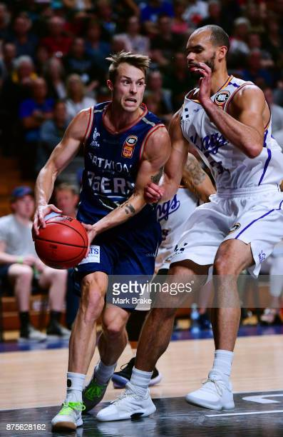 Nathan Sobey of the 36ers competes with Perry Ellis of the Sydney Kings during the round seven NBL match between Adelaide 36ers and the Sydney Kings...
