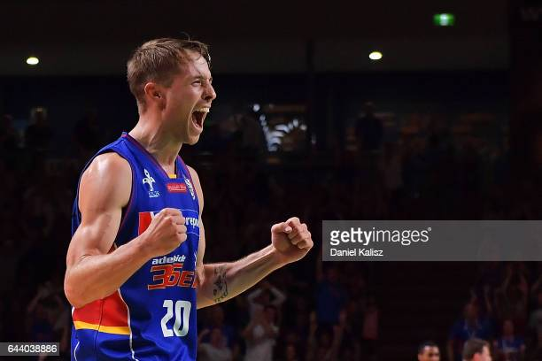 Nathan Sobey of the Adelaide 36ers reacts during game three of the NBL Semi Final series between the Adelaide 36ers and the Illawarra Hawks at...