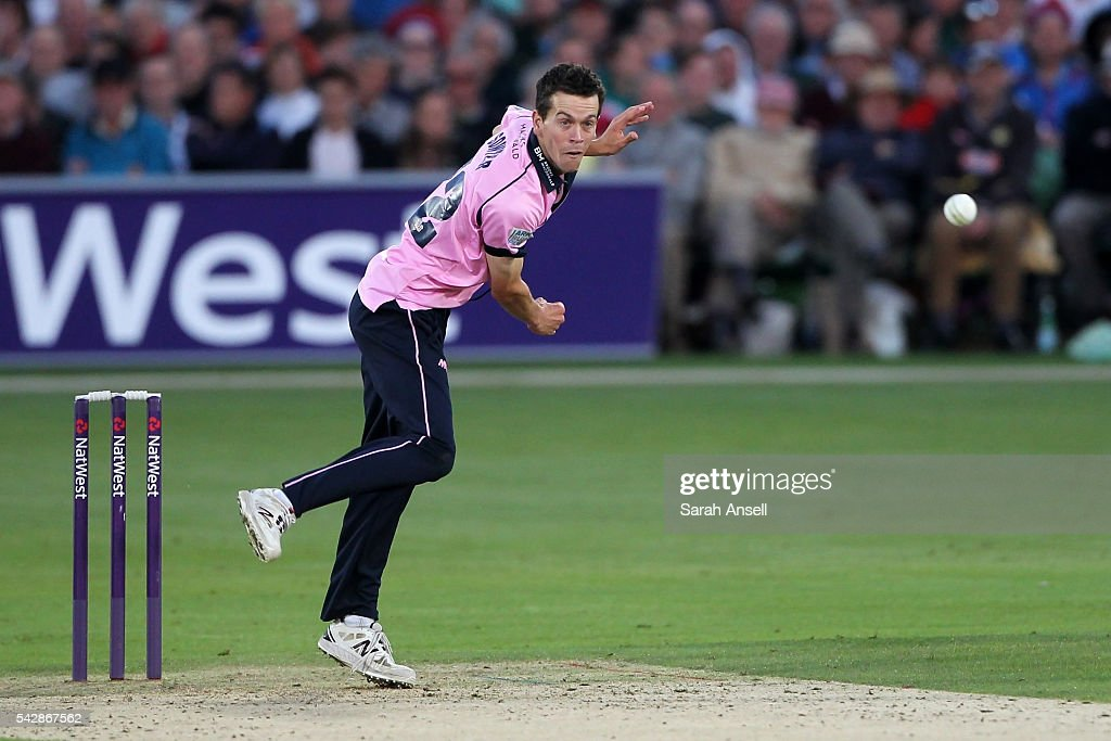 Nathan Sowter of Middlesex bowls during the Natwest T20 Blast match between Kent and Middlesex at The Spitfire Ground on June 24, 2016 in Canterbury, England.