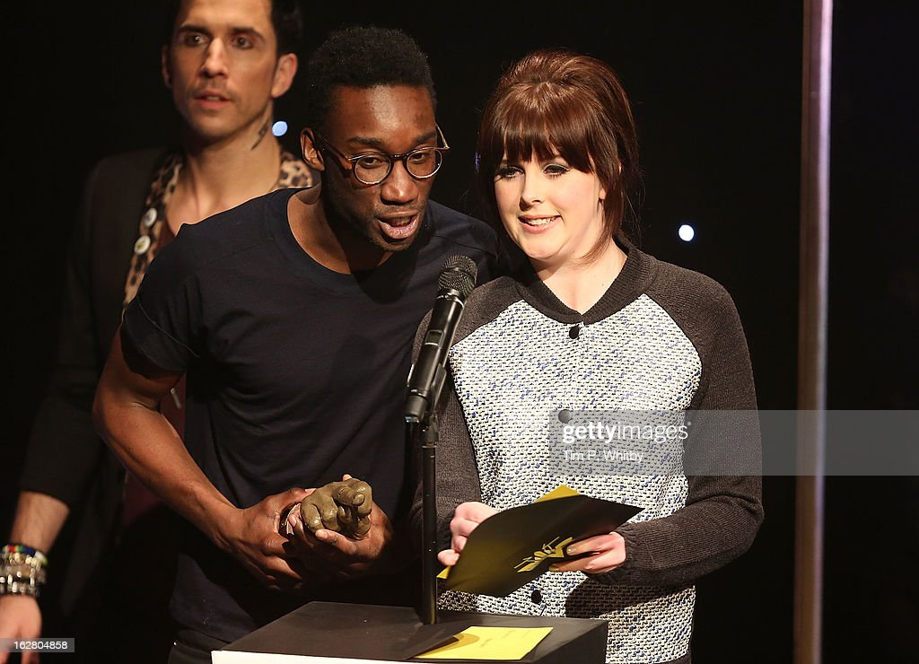 Nathan Stewart-Jarrett and Alexandra Roach present the award for Best TV Show at the NME Awards 2013 at the Troxy on February 27, 2013 in London, England.