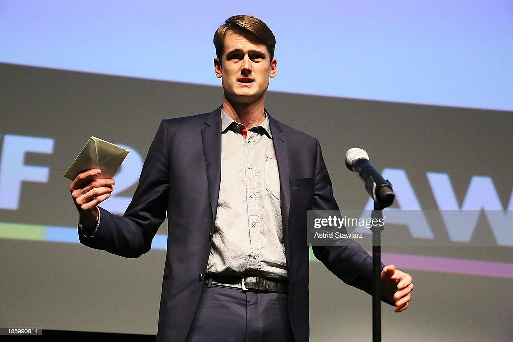 Nathan Stoll accepts A&E Unscripted Development Pipeline award for his project, 'Dirt Track Outlaws' during the 9th Annual New York Television festival at SVA Theater on October 26, 2013 in New York City.