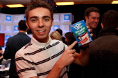 Nathan Sykes of The Wanted attends the Z100 Artist Gift Lounge Presented by Pop Tarts at Z100's Jingle Ball 2012 at Madison Square Garden on December...