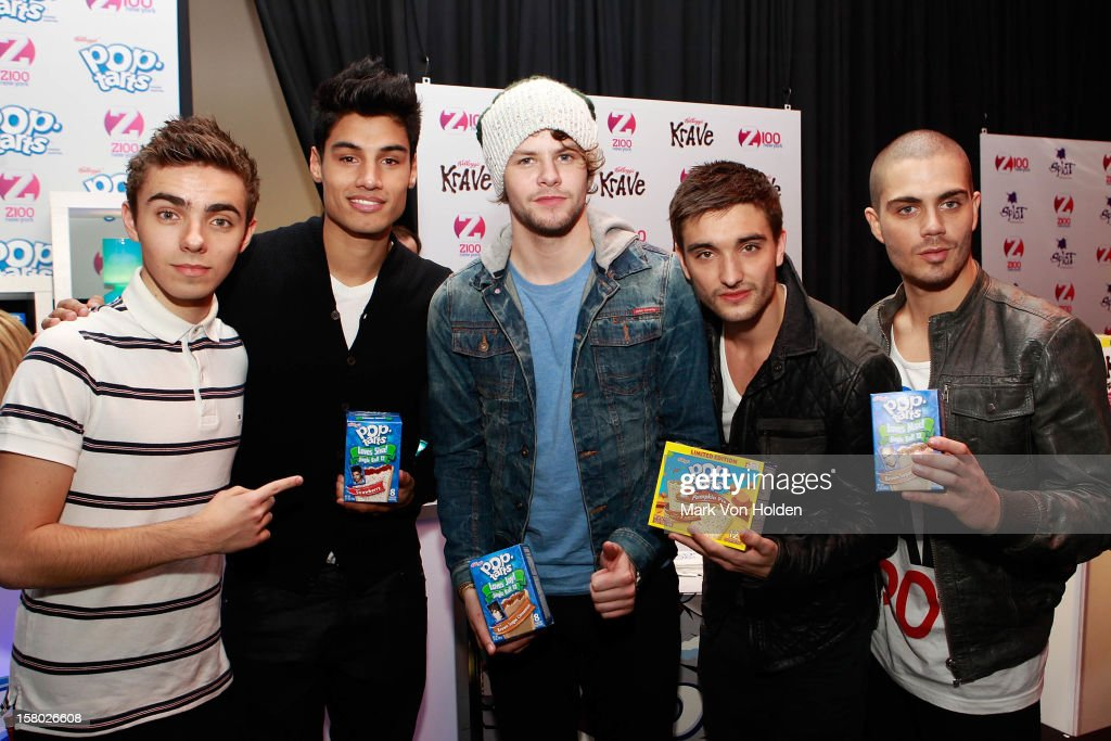 Nathan Sykes, Siva Kaneswaran, Jay McGuiness, Tom Parker, and Max George of The Wanted attends the Z100 Artist Gift Lounge Presented by Pop Tarts at Z100's Jingle Ball 2012 at Madison Square Garden on December 7, 2012 in New York City.