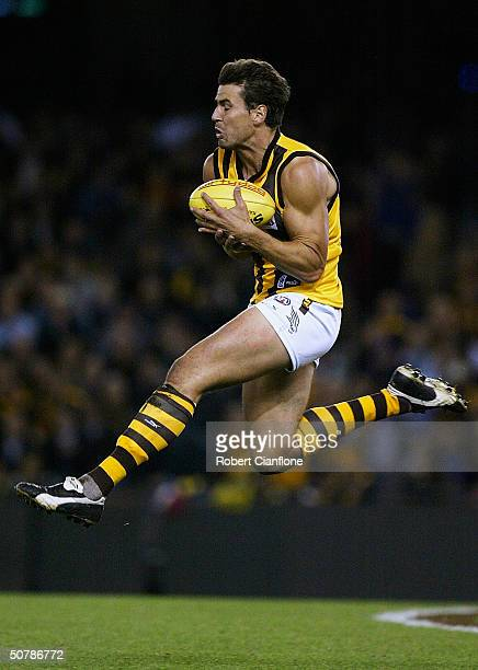 Nathan Thompson of the Hawks in action during the round six AFL match between the Richmond Tigers and the Hawthorn Hawks at the Telstra Dome April 30...