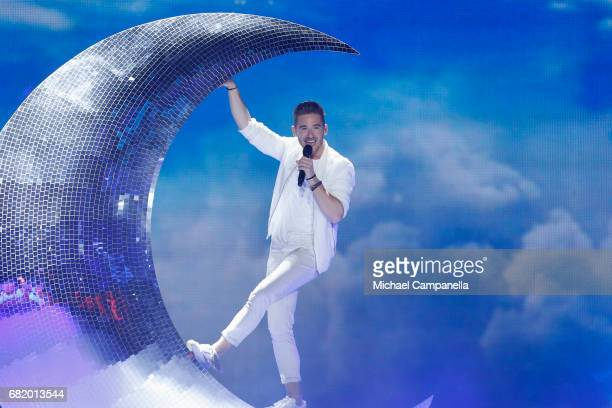 Nathan Trent of Austria performs the song 'Running On Air'' during the second semi final of the 62nd Eurovision Song Contest at International...