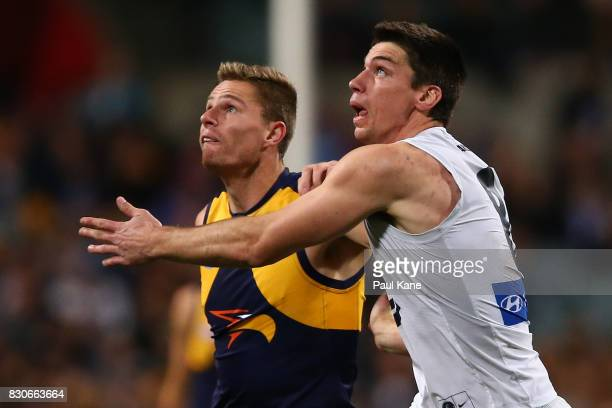 Nathan Vardy of the Eagles and Matthew Kreuzer of the Blues contest the ruck during the round 21 AFL match between the West Coast Eagles and the...