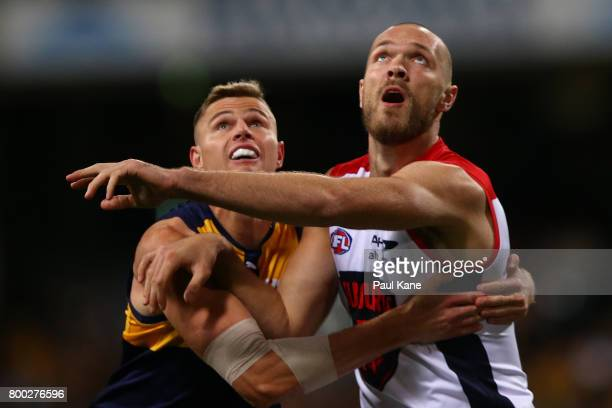 Nathan Vardy of the Eagles and Max Gawn of the Demons contest the ruck during the round 14 AFL match between the West Coast Eagles and the Melbourne...