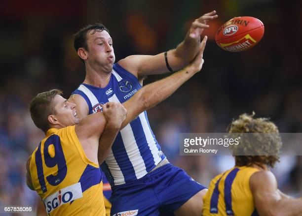 Nathan Vardy of the Eagles and Todd Goldstein of the Kangaroos compete in the ruck during the round one AFL match between the North Melbourne...