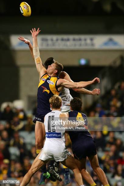 Nathan Vardy of the Eagles contests a ruck with Matthew Kreuzer of the Blues during the round 21 AFL match between the West Coast Eagles and the...