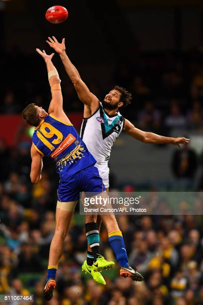 Nathan Vardy of the Eagles contests a ruck with Paddy Ryder of the Power during the 2017 AFL round 16 match between the West Coast Eagles and the...