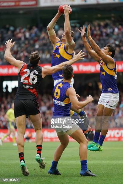 Nathan Vardy of the Eagles marks the ball during the round nine AFL match between the Essendon Bombers and the West Coast Eagles at Etihad Stadium on...