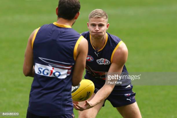 Nathan Vardy works on a handball drill during a West Coast Eagles AFL training session at Domain Stadium on September 11 2017 in Perth Australia