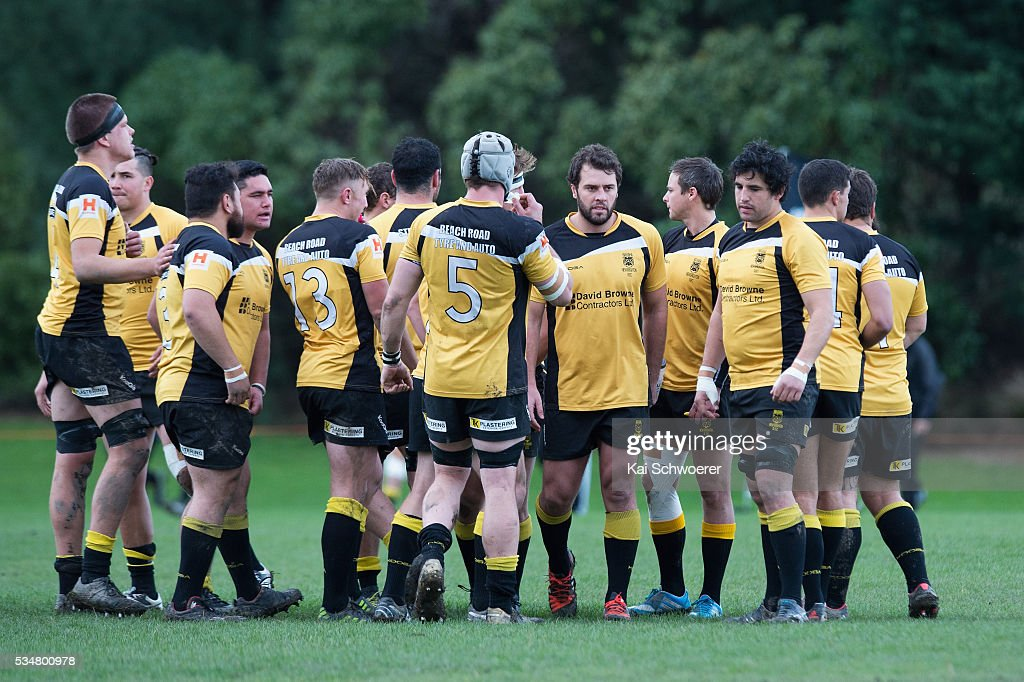 Nathan Vella of New Brighton (M) and his teammates look on prior to the match between New Brighton RFC and Linwood RC on May 28, 2016 in Christchurch, New Zealand.