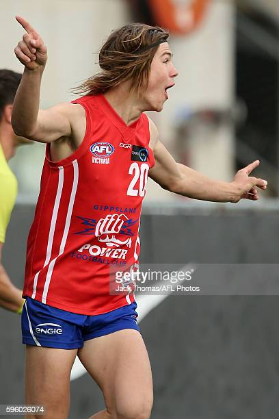 Nathan Voss of the Power celebrates a goal during the round 18 TAC Cup match between Gippsland Power and Bendigo Pioneers at Ikon Park on August 27...