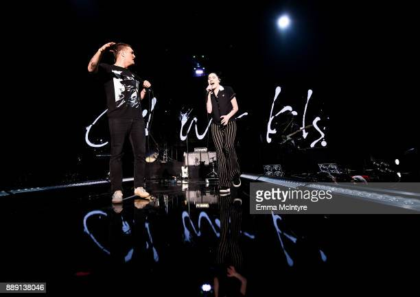 Nathan Willett of Cold War Kids performs with Bishop Briggs onstage during KROQ Almost Acoustic Christmas 2017 at The Forum on December 9 2017 in...