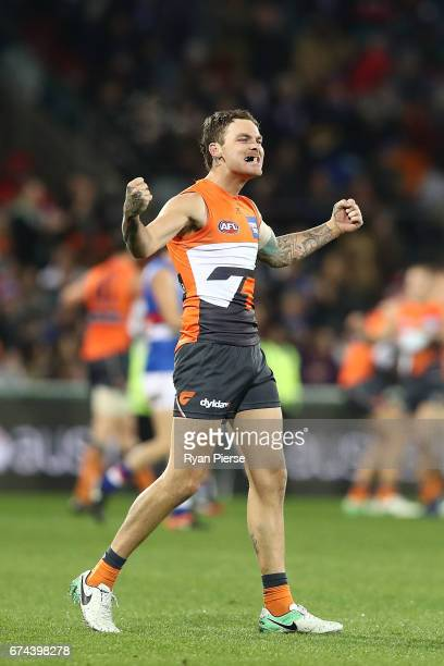 Nathan Wilson of the Giants celebrates victory during the round six AFL match between the Greater Western Sydney Giants and the Western Bulldogs at...