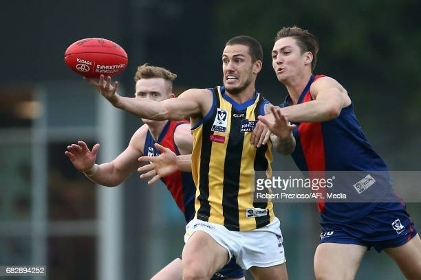 Nathan Wright of Sandringham contests the ball during the round five VFL match between Coburg and Sandringham at Pirhana Park on May 14 2017 in...