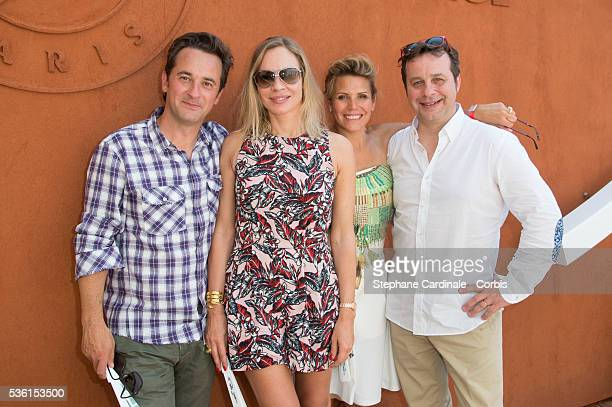 Nathanael de Rincquesen Charlotte Bouteloup Laura Tenoudji and Patrice Romedenne attend the 2015 Roland Garros French Tennis Open Day Thirteen on...