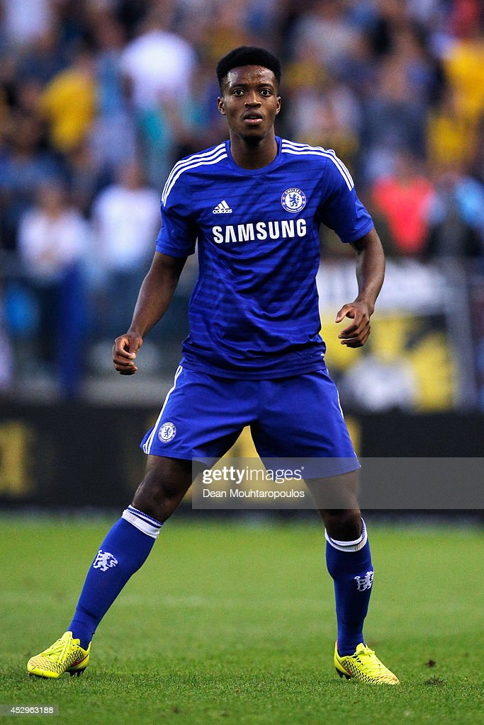 <a gi-track='captionPersonalityLinkClicked' href=/galleries/search?phrase=Nathaniel+Chalobah&family=editorial&specificpeople=5806371 ng-click='$event.stopPropagation()'>Nathaniel Chalobah</a> of Chelsea in action during the pre season friendly match between Vitesse Arnhem and Chelsea at the Gelredome Stadium on July 30, 2014 in Arnhem, Netherlands.