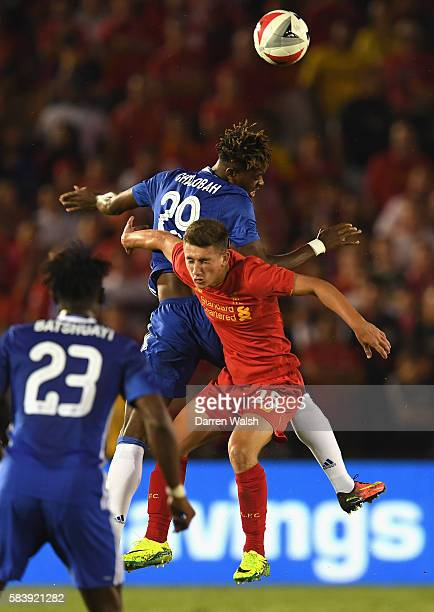 Nathaniel Chalobah of Chelsea wins a header over Cameron Brannagan of Liverpool during the 2016 International Champions Cup match between Chelsea and...