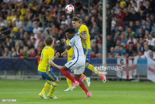 Nathaniel Chalobah of England and Kristoffer Olsson of Sweden battle for the ball during the UEFA European Under21 Championship match between Sweden...