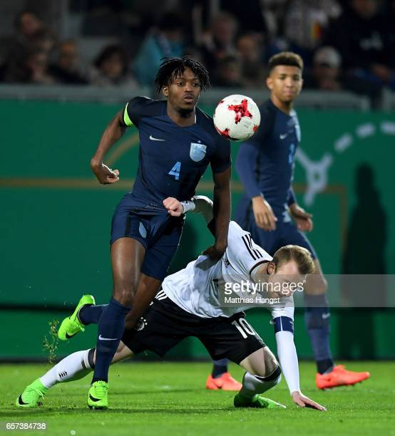 Nathaniel Chalobah of England challenges Maximilian Arnold of Germany during the U21 international friendly match between Germany and England at...