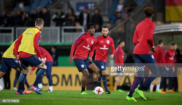 Nathaniel Chalobah of England warms up with team mates during the U21 international friendly match between Germany and England at BRITAArena on March...
